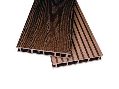 Террасный профиль двухсторонний Комфорт крупный вельвет с брашингом/текстура дерева шоколад25х145х6000 мм (0.87 кв.м.) Изображение
