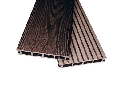 Террасный профиль двухсторонний Комфорт крупный вельвет с брашингом/текстура дерева венге 25х145х6000 мм (0.87 кв.м.) Изображение