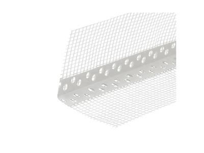 Уголок перфорированный ПВХ с сеткой 100х100 мм белый 2,5 м Изображение