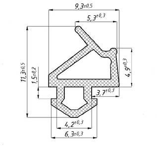 """Уплотнитель для профиля VEKA 254 (створка) модификацмя 1, чёрный, """"ELEMENTIS"""", ТЭП Изображение 2"""