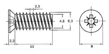 Евровинт 6.3х11мм, потайная головка, оцинкованный VE04 Изображение 2