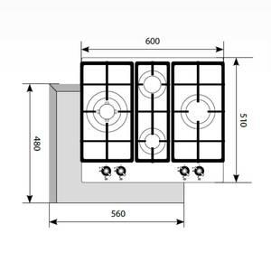 Варочная панель газовая GVE 6043 C IV LIGHT, ширина 600 мм, белый антик Изображение 2
