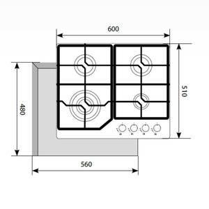 Варочная панель газовая GVG 6040-1 IV LIGHT, ширина 600 мм, белый антик Изображение 2