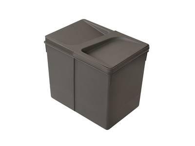 Ведро для системы сортировки отходов 15 литров с крышкой, H=266mm, пластик серый FIRMAX Изображение 3