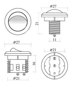 Выключатель врезной кнопочный, серый, D-27мм, 5А Изображение 2
