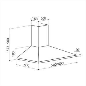 Вытяжка декоративная купольная BASIC 600 INOX, ширина 600 мм, нержавейка Изображение 2