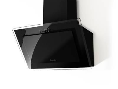 Вытяжка наклонная MIKA G 500 BLACK, ширина 500 мм, черное стекло Изображение