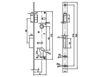Замок Elementis 153 PZ/F16/35/85/8 риг с защелкой хром полированный Изображение 2
