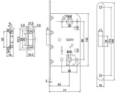 [ПОД ЗАКАЗ] Замок магнитный MAXBAR с ответной планкой, дорнмасс 50 мм, межосевое расстояние 96 мм, ширина штульпа 18 мм, для сантехнических узлов , универсальный, с ответной планкой, латунь матовая Изображение 4