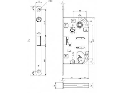 Замок магнитный STV WC, ширина штульпа 18 мм, универсальный, с ответной планкой W7 и винтами, латунь полированная Изображение 3