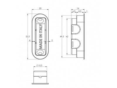 Замок магнитный STV WC, ширина штульпа 18 мм, универсальный, с ответной планкой W7 и винтами, никель полированный Изображение 2