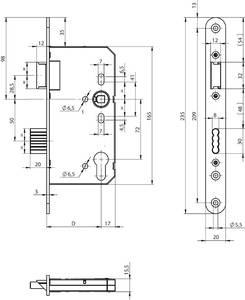 Замок противопожарный ригельный с фалевой защелкой, PZ/F20/65/72/8 Изображение 2