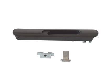 Защёлка балконная ELEMENTIS со скрытым монтажом 3 части RAL9005 черный с черным ползунком Изображение 2