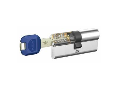 [ПОД ЗАКАЗ] Личинка замка двери Kaba maTrix 40/40 (3 ключа [Large Key] с пласт. наклад. (синяя), никелированный) Изображение